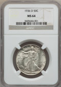 Walking Liberty Half Dollars: , 1936-D 50C MS64 NGC. NGC Census: (559/733). PCGS Population(1064/1396). Mintage: 4,252,400. Numismedia Wsl. Price for prob...