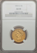 Liberty Half Eagles, 1854-O $5 AU50 NGC....