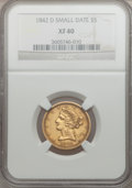 Liberty Half Eagles, 1842-D $5 Small Date XF40 NGC. Variety 8-E....