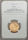 Liberty Half Eagles, 1892-CC $5 MS61 NGC....
