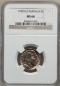Buffalo Nickels: , 1938-D/S 5C MS66 NGC. NGC Census: (842/68). PCGS Population(1495/179). Mintage: 7,020,000. Numismedia Wsl. Price for probl...