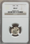 Mercury Dimes: , 1941 10C MS67 NGC. NGC Census: (560/1). PCGS Population (224/5).Mintage: 175,106,560. Numismedia Wsl. Price for problem fr...