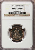 Proof Seated Quarters, 1874 25C Arrows PR63 Cameo NGC....