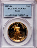 Modern Bullion Coins: , 1993-W G$50 One-Ounce Gold Eagle PR70 Deep Cameo PCGS. PCGSPopulation (77). NGC Census: (341). Mintage: 34,389. Numismedia...