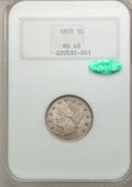 Liberty Nickels: , 1893 5C MS63 NGC. CAC. NGC Census: (86/273). PCGS Population(139/294). Mintage: 13,370,195. Numismedia Wsl. Price for prob...