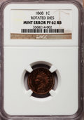 Proof Indian Cents, 1868 1C -- Rotated Dies -- PR62 Red and Brown NGC. NGC Census:(2/145). PCGS Population (1/136). Mintage: 600. Numismedia W...