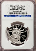 Modern Bullion Coins, 2010-W $100 One-Ounce Platinum Eagle Early Releases PR70 UltraCameo NGC. NGC Census: (0). PCGS Population (588). (#41554...