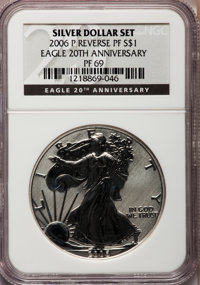 2006-P $1 Reverse Proof Silver Eagle, 20th Anniversary PR69 NCS. NGC Census: (40126/9880). PCGS Population (12329/1781)...