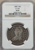 Bust Half Dollars: , 1808 50C VG8 NGC. O-106. NGC Census: (5/456). PCGS Population(6/610). Mintage: 1,368,600. Numismedia Wsl. Price for probl...