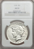 Peace Dollars: , 1928 $1 AU53 NGC. NGC Census: (105/5337). PCGS Population(163/7221). Mintage: 360,649. Numismedia Wsl. Price for problemf...