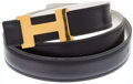 Luxury Accessories:Accessories, Hermes 80cm Indigo and White Two Tone Mini H Belt. ...
