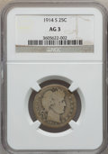 Barber Quarters: , 1914-S 25C AG3 NGC. NGC Census: (0/189). PCGS Population (37/505). Mintage: 264,000. Numismedia Wsl. Price for problem free...