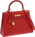 Luxury Accessories:Bags, Hermes 25cm Vermillion Calf Box Leather Sellier Kelly Bag with GoldGuilloche Hardware. ...