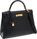 Luxury Accessories:Bags, Hermes 32cm Black Epsom Leather Sellier Kelly Bag with Gold Hardware. ...