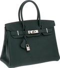 Luxury Accessories:Bags, Hermes 30cm Vert Fonce Fjord Leather Birkin Bag with Palladium Hardware. ...