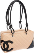 Luxury Accessories:Bags, Chanel Beige & Black Lambskin Leather Cambon Bowling Bag. ...