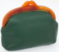 Luxury Accessories:Bags, Hermes Green Leather Tortoise Frame Vintage Clutch. ...