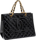 Luxury Accessories:Bags, Chanel Black Quilted Patent Leather Large Tote Bag with Gold Hardware. ...