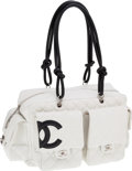 Luxury Accessories:Bags, Chanel Black & White Lambskin Leather Cambon MultipocketReporter Bag . ...