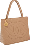 Luxury Accessories:Bags, Chanel Beige Caviar Leather Medallion Tote Bag with Gold Hardware....
