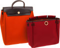 "Luxury Accessories:Bags, Hermes Chocolate Vache Leather & Red and Orange Canvas HerbagMM with Permabrass Hardware. Excellent Condition. 10""Wi..."