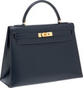 Luxury Accessories:Bags, Hermes 32cm Indigo Calf Box Leather Kelly Bag with Gold Hardware. ...