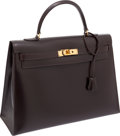 Luxury Accessories:Bags, Hermes 35cm Ebene Calf Box Leather Sellier Kelly Bag with GoldHardware. ...