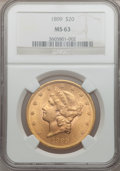 Liberty Double Eagles: , 1899 $20 MS63 NGC. NGC Census: (5408/1570). PCGS Population(2161/448). Mintage: 1,669,384. Numismedia Wsl. Price for probl...