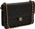 Luxury Accessories:Bags, Chanel Black Lambskin Leather Flap Bag with Gold Hardware. ...