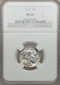 Buffalo Nickels: , 1927 5C MS66 NGC. NGC Census: (85/10). PCGS Population (272/6).Mintage: 37,981,000. Numismedia Wsl. Price for problem free...