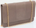 Luxury Accessories:Bags, Gucci Taupe Leather Clutch with Gold Chain Shoulder Strap. ...