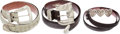 Luxury Accessories:Accessories, Set of Three; Kieselstein Cord, Billy Martin, and Pat AreiasCrocodile & Sterling Silver Belts. ... (Total: 3 Items)