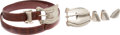 Luxury Accessories:Bags, Kieselstein Cord Brown Alligator Belt with Set of Two SterlingSilver Buckles. ... (Total: 6 Items)