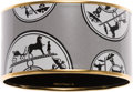 Luxury Accessories:Accessories, Hermes Black & White Enamel Bangle Bracelet with Gold Hardware....