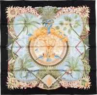"""Hermes Black And Green """"Aloha,"""" By Laurence Bourthoumieux Silk Scarf"""