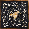 "Luxury Accessories:Accessories, Hermes Black And Cream ""Au Gre Du Vent,"" By Dimitri RybaltchenkoSilk Scarf. ..."