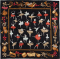 """Luxury Accessories:Accessories, Hermes Black and Goldenrod """"Danse,"""" by Jean-Louis Clerc Silk Scarf...."""