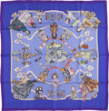 """Luxury Accessories:Accessories, Hermes Blue and Purple """"Hello Dolly,"""" by Loic Dubigeon Silk Scarf...."""