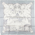 "Luxury Accessories:Accessories, Hermes Silver and White ""Apres Le Deluge,"" by Zoe Pauwels SilkScarf. ..."