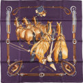 "Luxury Accessories:Accessories, Hermes Dark Purple and Brown ""Attellage En Arbalette,"" by PhilippeLedoux Silk Scarf. ..."