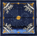 "Luxury Accessories:Accessories, Hermes Blue, White, and Gold ""Cosmos, Air France Anniversary,"" byPhilippe Ledoux Silk Scarf. ..."