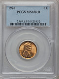 Lincoln Cents: , 1926 1C MS65 Red PCGS. PCGS Population (862/549). NGC Census:(722/458). Mintage: 157,088,000. Numismedia Wsl. Price for pr...