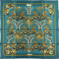 "Luxury Accessories:Accessories, Hermes Teal and Gold ""Tally Ho,"" by Karin Swildens Silk Scarf. ..."