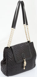 Luxury Accessories:Bags, Kieselstein Cord Black Woven Leather Tote Bag with Matte SilverChain and Frog Charm. ...