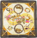 "Luxury Accessories:Accessories, Hermes Gray and Gold ""Circus,"" by Annie Faivre Silk Scarf. ..."