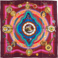"Luxury Accessories:Accessories, Hermes Maroon and Gold ""Ronde Des Heures,"" by Loic Dubigeon Silk Scarf. ..."