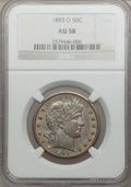 Barber Half Dollars: , 1893-O 50C AU58 NGC. NGC Census: (15/125). PCGS Population(20/116). Mintage: 1,389,000. Numismedia Wsl. Price for problem ...