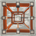 """Luxury Accessories:Accessories, Hermes Silver and Brown """"Perspective,"""" by A. M. Cassandre SilkPochette Scarf. ..."""