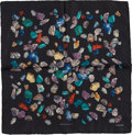 "Luxury Accessories:Accessories, Hermes Black and Gray ""Mineraux,"" by Hugo Grygkar Silk PochetteScarf. ..."