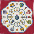 "Luxury Accessories:Accessories, Hermes White, Maroon, and Yellow ""Qu' Import Le Flacon,"" byCatherine Baschet Silk Pochette Scarf. ..."